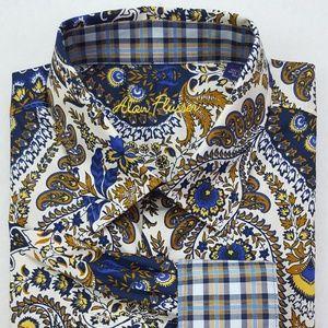 Alan Flusser Paisley Shirt Large Blue Multicolor B